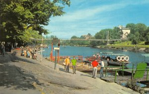 Vintage Cheshire Postcard, The River Dee and Suspension Bridge, Chester FH1