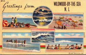 New Jersey Wildwood Greetings Multi View 1944 Curteich