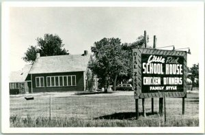 Hutchinson, Kansas RPPC Photo Postcard LITTLE RED SCHOOL HOUSE Chicken Dinners