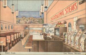 Las Vegas Sam's Caf' SIZZLING STEAKS & Slot Machines Great Linen Postcard