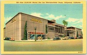 HOLLYWOOD, CA Linen Postcard New $3 Million Mutual Don Lee TV-Radio Studio