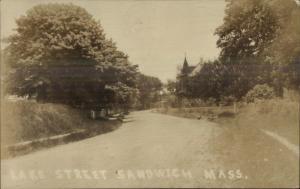Sandwich Cape Cod MA Lake Street c1910 Real Photo Postcard
