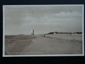Somerset BERROW The Sands & Low Lighthouse c1950's Postcard by Happnhough