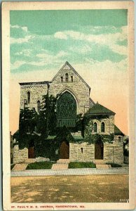 Hagerstown, Maryland Postcard St. Paul's M.E. Church / Street View c1910s Unused