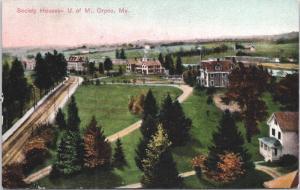 Orono ME Society House U of M. University Maine c1908 Postcard E31