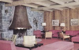 Fireplace, Lobby, Chateau Lac Beauport, Lac Beauport, Quebec, Canada, PU-1966