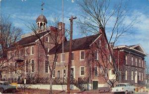 New Castle Delaware~Old Court House~Baby Blue 1950s Car~Postcard