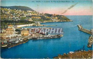 Postcard Old Nice The entrance of the Port and Mont Boron
