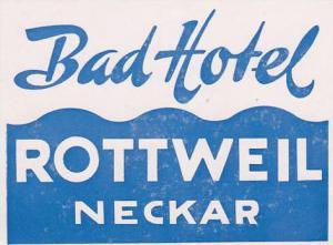 GERMANY ROTTWEIL BAD HOTEL VINTAGE LUGGAGE LABEL
