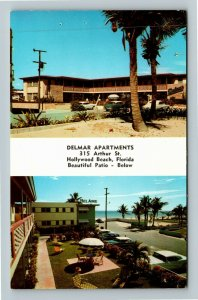 Hollywood Beach FL-Florida, Delmar Apartments, Chrome Postcard