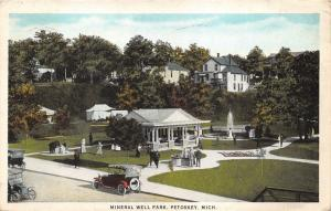 Petoskey Michigan~Mineral Well Park~Fountain~People @ Pavilion~1925 Postcard