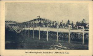 Old Orchard Beach ME Peck's Prancing Ponies Ride & Coaster Postcard rpx c1910