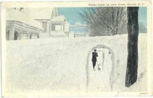 Winter Scene on Park Street, Arcade, New York, 1943 White Border