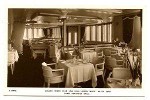 Cunard White Star Line - RMS Queen Mary,  Cabin Verandah Grill  *RPPC
