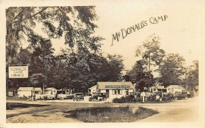 Eaton OH McDonald's Camp Gas Pumps Old Cars Real Photo Postcard