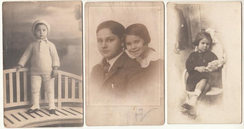 Children portraits vintage photography photo postcards