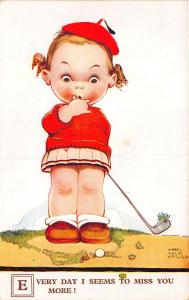 Every Day I Seems To Miss You More! Golf  Clubs Signed Mabel Attwell Postcard