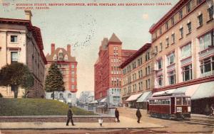 Portland OR M-G Trolley on Morrison Street~Post Office~Pedestrians 1908
