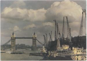 LONDON, Tower Bridge and the Pool in days gone by, modern unused Postcard