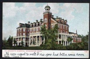 Massachusetts WORCESTER St. Vincent's Hospital pm1907 A.C. Bosselman & Co. Und/B