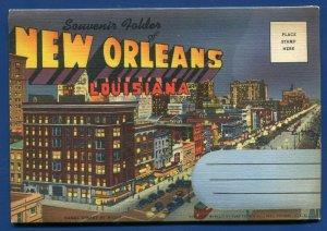 New Orleans Louisiana la Air view Canal Street Sugar Bowl postcard folder
