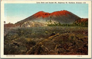 1940s Arizona ROUTE 66 Roadside Postcard Lava Beds and Sunset Mountain Linen