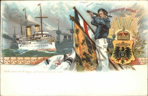 German Navy Spy Glass Sailor Ship Flags Shield Patriotic 1898 USED Postcard