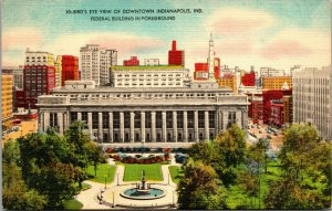 POSTCARD BIRDS EYE VIEW OF MONUMENT PLACE INDIANAPOLIS INDIANA
