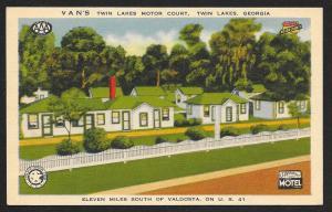 Vans Twin Lakes Motor Court Twin Lakes Georgia Unused c1940s