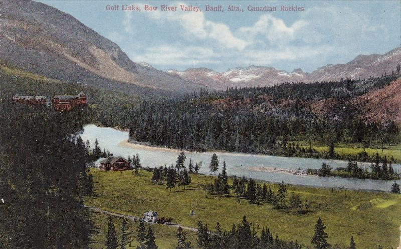 BANFF, Alberta, Canada, 1900-1910s; Golf Links, Bow River Valley, Canadian Ro...