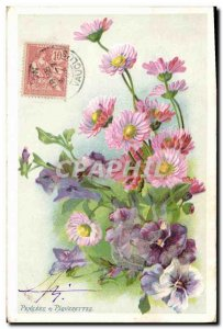 Old Postcard Fantasy Flowers Thoughts and daisies