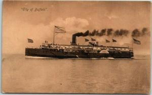Vintage C&B LINE Steamship Co. Postcard CITY OF BUFFALO c1900s Unused