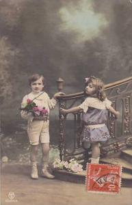 RP, Boy & A Girl Posing, Stairs, 1900-1910s