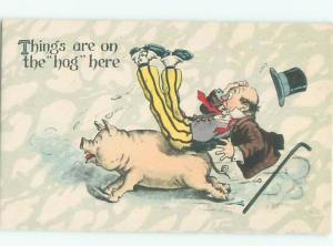 Pre-Linen PIGLET PIG HOG KNOCKS OVER MAN AC5834