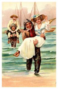 Sailors Carrying Wealthy Woman from Ship to Shore