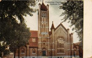 Anderson Indiana~Presbyterian Church~Tall Tower~1913 Postcard