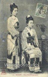 Deux Beautes japonaises Saigon Vietnam, Viet Nam Writing on back