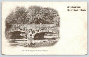 Rock Island Illinois~Children on RI Arsenal Stone Arch Private Bridge~1901 PMC