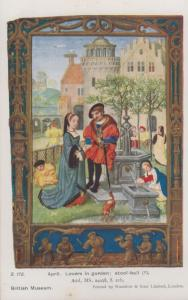 April Lovers In Garden By Stool Bar Medieval Drawing Antique Postcard