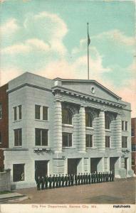 1907 City Fire Department Kansas City Missouri South West postcard 8376