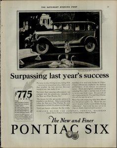 1927 Pontiac Six Car Surpassing Last Years Success Vintage Print Ad 3915