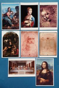 Beautiful Set of 8 NEW Leonardo da Vinci Art Paintings Postcards Prints 18M
