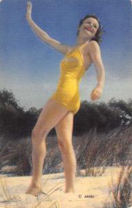 Bathing Beauty Yellow Suit Beach Linen Antique Postcard K7876453