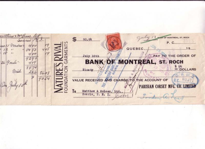 Cheque Bank of Montreal 1934, Nature's Rivel, Parisan Corset, St Roch, Quebec
