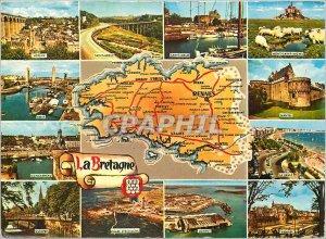 Postcard Modern Brittany Morlaix Saint Brieuc Saint Malo Mont Saint Michel Br...