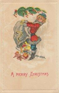 CHRISTMAS, 1900-10s; Mrs. Santa Claus dumps bag of toys