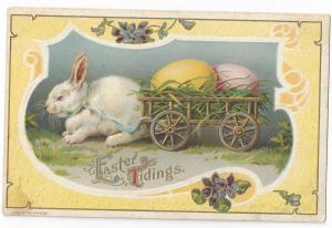 Vintage Easter Postcard Rabbit Pulling Cart Egg 1910 Wessler