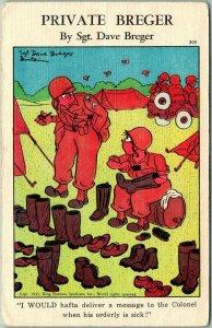 1940s Military Comic Postcard PRIVATE BREGER #309 - Shining Colonel's Boots