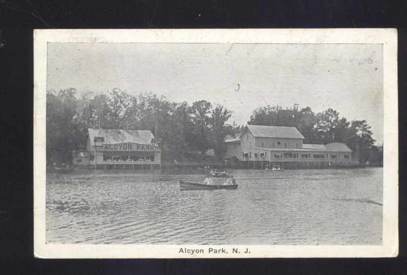 ALCYON PARK NEW JERSEY BOATING LAKE WERNERSVILLE PA. ANTIQUE VINTAGE POSTCARD