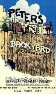 Peter's Backyard Restaurant, New York City, NYC Postcard Post Card USA Old Vi...
